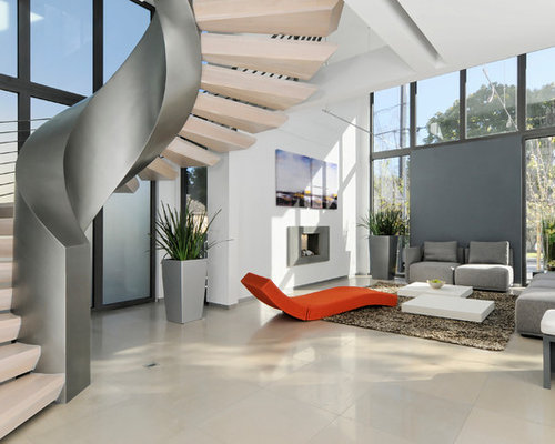 inspiration for a contemporary open concept living room remodel in san francisco with white walls and - Emphasis Interior Design