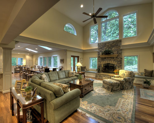 Living Room   Traditional Living Room Idea In DC Metro With A Stone  Fireplace