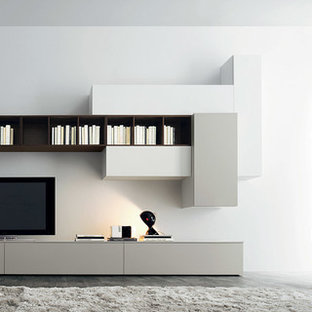 Example of a mid-sized minimalist open concept gray floor living room design in Boston with white walls, no fireplace and a tv stand