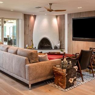 Living Room Contemporary Open Concept Medium Tone Wood Floor And Brown Idea