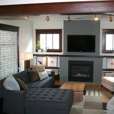 Transitional Living Room AFTER: New FIreplace with TV