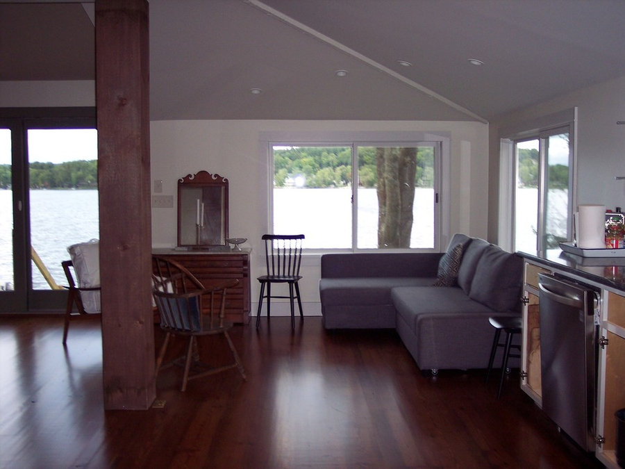 After picture of living space facing lake in Westchester County, NY