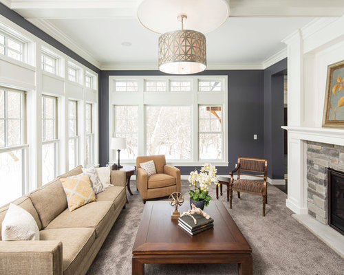 Elegant Plush Carpet Houzz Mid Sized Traditional Formal Enclosed Living Room Idea  In Minneapolis With A Stone Part 28