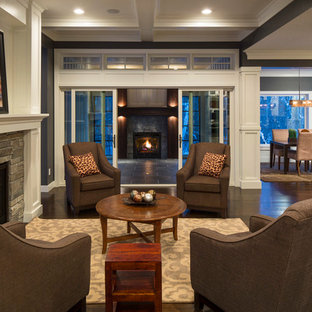 Mid-sized elegant formal and open concept dark wood floor living room photo in Minneapolis with a stone fireplace, blue walls, a standard fireplace and no tv