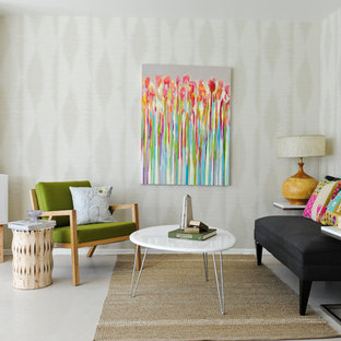 Inspiration for a small midcentury living room in Vancouver with beige walls.