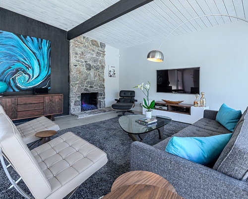 Inspiration For A 1960s Living Room Remodel In Other With White Walls Standard Fireplace
