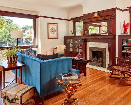 hardwood living room. Victorian medium tone wood floor living room library idea in San Francisco  with white walls Best 70 Medium Tone Wood Floor Living Room Ideas Houzz