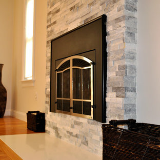 ALASKA GRAY MARBLE LEDGER PANEL FIREPLACE ACCENT WALL