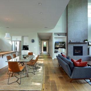 Idee per un soggiorno country di medie dimensioni e aperto con pareti grigie, parquet chiaro, camino classico, cornice del camino in cemento e TV autoportante