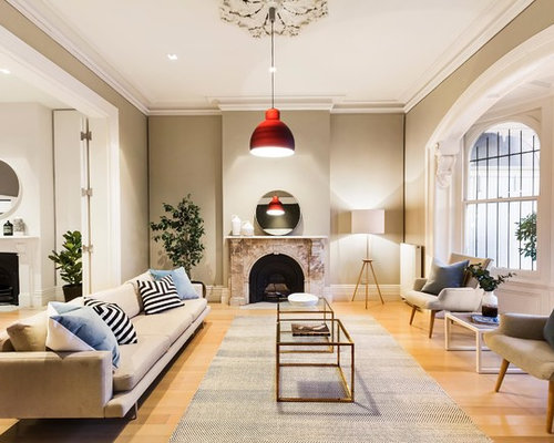 Photo Of A Transitional Living Room In Melbourne.