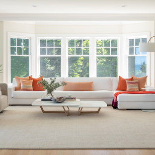 Inspiration for a scandinavian light wood floor and beige floor living room remodel in New York with white walls