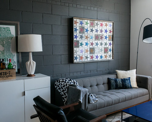 Urban Open Concept And Formal Living Room Photo In DC Metro With Black Walls