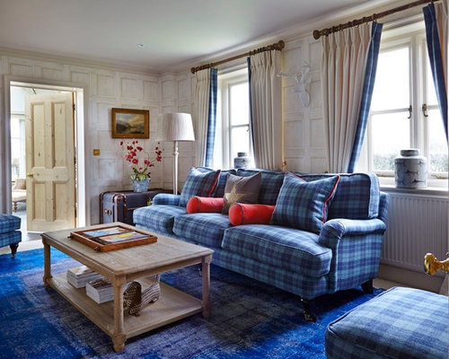 Inspiration for a timeless enclosed living room remodel in BerkshireBlue Plaid Couches   Houzz. Plaid Living Room Furniture. Home Design Ideas