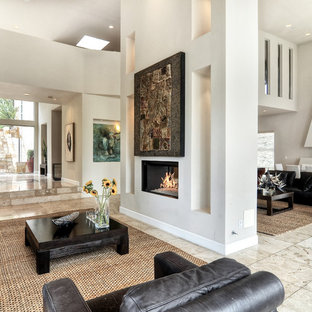 Living room - large modern formal and enclosed travertine floor and gray floor living room idea in Orange County with white walls, a two-sided fireplace, no tv and a plaster fireplace