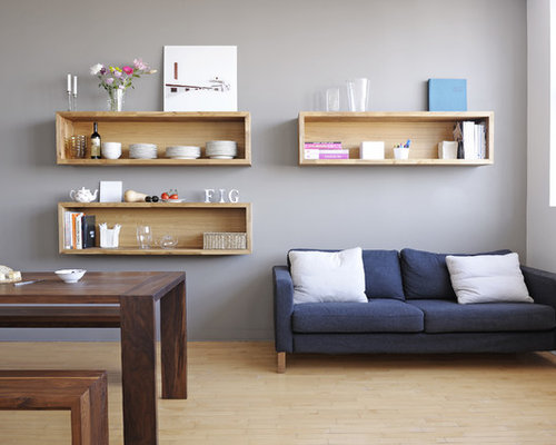 Dark gray sofa houzz Modern shelves for living room