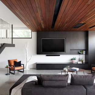 Small Modern Open Concept Living Room In Melbourne With White Walls A Wall Mounted