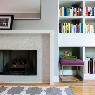 Example of a trendy living room design in DC Metro with gray walls