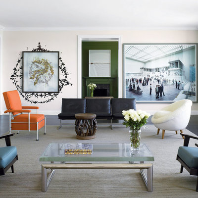 Eclectic living room photo in Chicago with beige walls and a standard fireplace