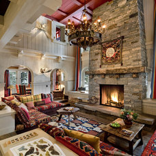 Rustic Living Room by John Malick & Associates