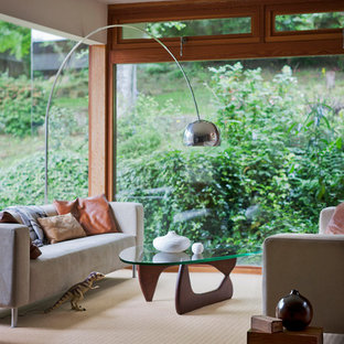 Trendy carpeted living room photo in Hampshire