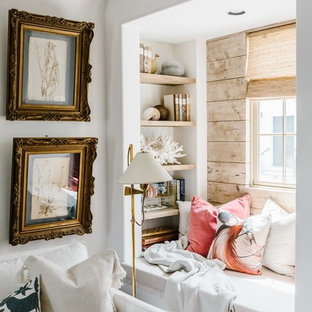 Inspiration for a nautical living room in Miami with a reading nook and yellow walls.