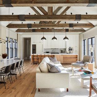 Coastal Open Concept Medium Tone Wood Floor And Brown Living Room Photo In New York