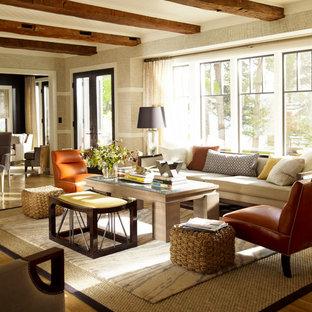 Living room - traditional medium tone wood floor living room idea in New York with beige walls