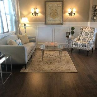 デンバーの大きいトランジショナルスタイルのおしゃれなLDK (フォーマル、グレーの壁、淡色無垢フローリング、標準型暖炉、木材の暖炉まわり、テレビなし、茶色い床) の写真