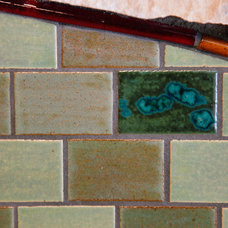 Craftsman Living Room by Mercury Mosaics and Tile