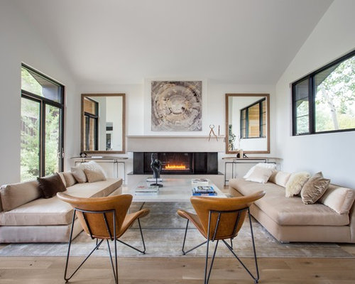 Trendy Formal Light Wood Floor Living Room Photo In Salt Lake City With  White Walls And Part 98