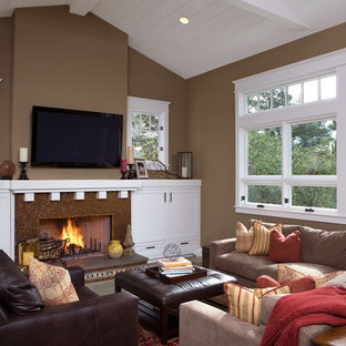 Trendy living room photo in San Francisco with brown walls