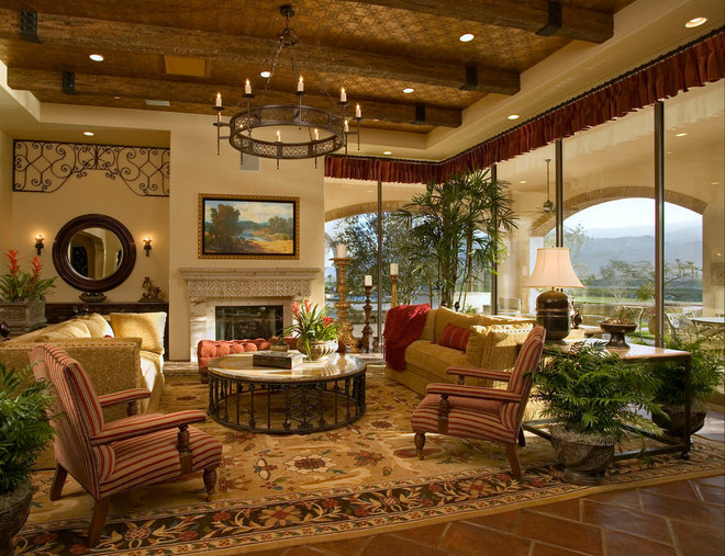 Mediterranean Family Room by Pekarek Crandell Architects