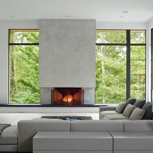 Ejemplo de salón contemporáneo con paredes blancas, suelo de madera clara, chimenea tradicional, marco de chimenea de hormigón y suelo beige
