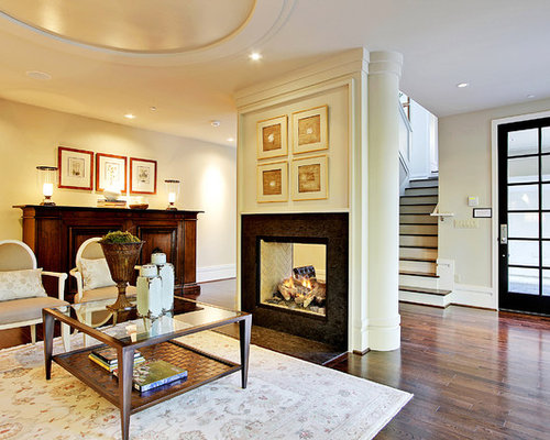 Two way fireplace houzz - Fireplace between two rooms ...