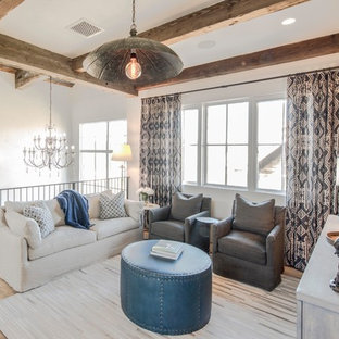 Example Of A Country Light Wood Floor Living Room Design In Austin With White Walls And