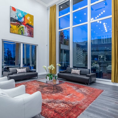 Trendy gray floor living room photo in Seattle with gray walls