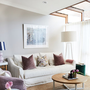 Inspiration for a transitional formal living room in Sydney with grey walls and no fireplace.