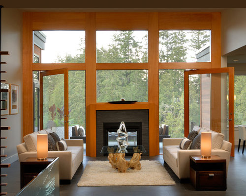 Indoor outdoor fireplace home design ideas pictures for Open sided fireplace