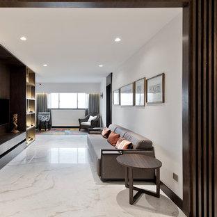 Ispirazione per un soggiorno etnico aperto con sala formale, pareti bianche, parete attrezzata e pavimento bianco