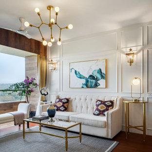 Esempio di un soggiorno design di medie dimensioni con sala formale, pareti bianche, pavimento marrone e boiserie