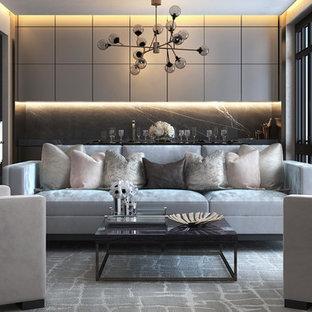 Idee per un soggiorno contemporaneo di medie dimensioni e chiuso con pareti grigie, sala formale, moquette, nessun camino e nessuna TV