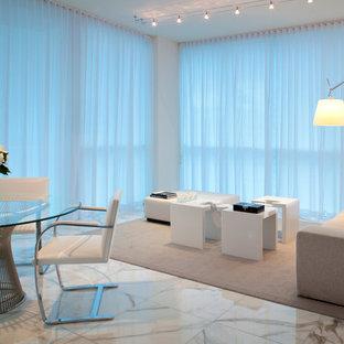 Foto di un soggiorno minimal aperto con sala formale e pavimento in marmo