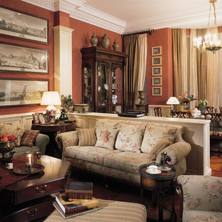 Photo of a victorian formal open concept living room in Moscow with brown walls and medium hardwood floors.