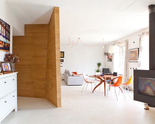 photos et id es d co de pi ces vivre scandinaves avec chemin e suspendue. Black Bedroom Furniture Sets. Home Design Ideas