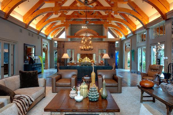 Rustic Living Room by Moon Bros Inc