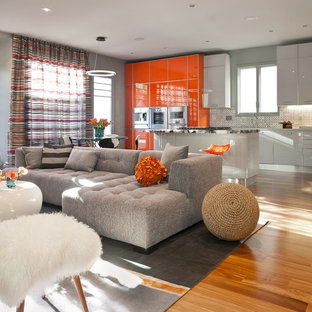 Trendy Formal And Open Concept Medium Tone Wood Floor Living Room Photo In  San Francisco With