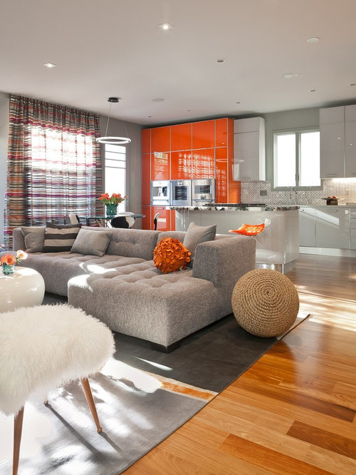 Trendy Formal Open Concept Living Room Photo In San Francisco With Gray Walls And Medium Tone