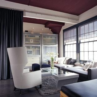 Trendy dark wood floor living room photo in San Francisco with white walls