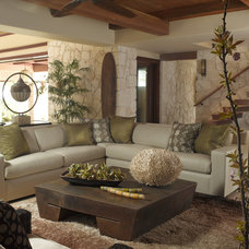 Tropical Family Room by Applegate Tran Interiors
