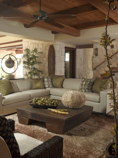 Tropical Living Room by Applegate Tran Interiors
